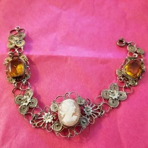 Vintage Cameo bracelet filigree silver tone yellow